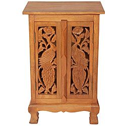 Hand carved Birds Storage Cabinet/ End Table