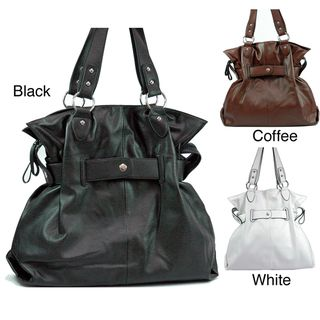 Dasein Womens Leatherette Belted Tote Bag