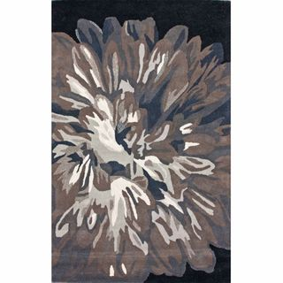 Rug Collective Handmade Floral Black Wool Rug