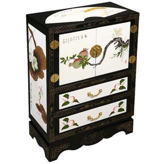 Black/ White Chinese Lotus Storage Cabinet