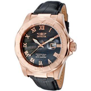 Invicta Mens Pro Diver Black Genuine Calf Leather Watch