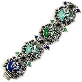 Sweet Romance Vintage Czech Glass Jasmine Panel Bracelet
