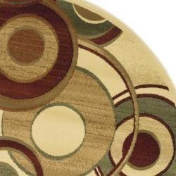 Lyndhurst Collection Circ Ivory/ Multi Rug (7 Round)