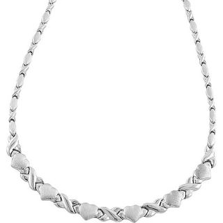 10k White Gold Graduated X and Heart Necklace