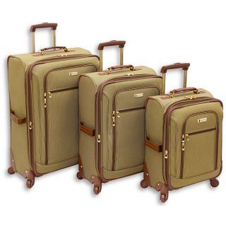 London Fog Sheffield Brown Plaid 3 piece Spinner Luggage Set