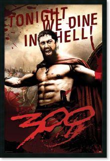 300 Leonidas Tonight We Dine in Hell Framed PosterZ