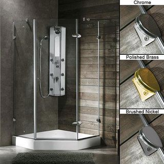 VIGO 40 x 40 Frameless Neo Angle 3/8 inch Clear Shower Enclosure with