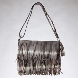 Vintage Reign Amanda Grey Tie dye Fringe Crossbody Bag