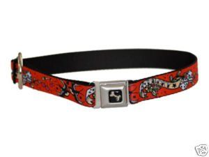 Tattoo Lucky Dog Seat Belt Buckle Style Dog Collar Red 1