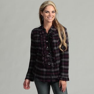 Live A Little Womens Plaid Ruffle Tunic