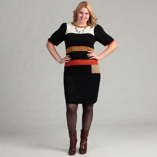 Jessica Howard Womens Plus Shirred Sleeve Colorblock Dress
