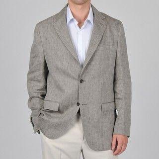 Mens Black/ Tan Linen Herringbone Pattern Blazer