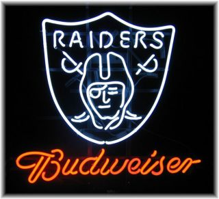 Budweiser Oakland Raiders Neon Bar Sign