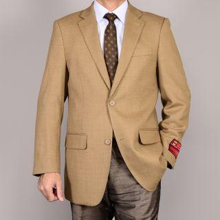 Mantoni Mens Camel 2 Button Wool Sport Coat