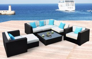 Miami All Weather 8 piece Espresso Wicker Patio Furniture