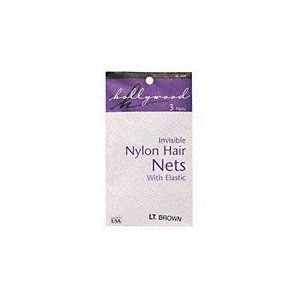 Hollywood Nylon Hair Nets   Light Brown 3 pk. Beauty