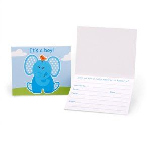 Blue Elephants Baby Shower Invitations Party Accessory