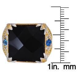 Michael Valitutti Black Onyx, Apatite and Sapphire Ring