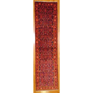 Persian Hand knotted Navy/ Red Hamadan Wool Rug (34 x 135