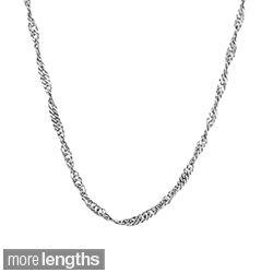 10 karat White Gold One millimeter Singapore Fashion Chain (20 inch