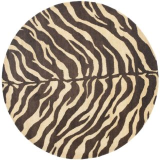 Handmade Zebra Beige Hand spun Wool Rug (6 Round)