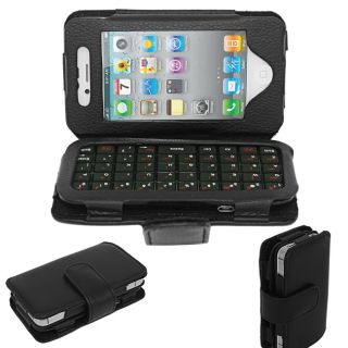SKQUE iPhone 4 Black Mini Leather Case and Bluetooth Keyboard