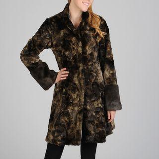Hilary Radley Womens Snap Front Faux Fur Coat