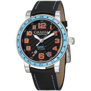 Graham Mens Silverstone Black Dial Black Leather Strap GMT Watch
