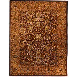 Handmade Taj Mahal Burgundy/ Gold Wool Rug (96 x 136)