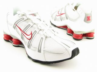 Nike Mens Shox Turbo Mesh White/Black/Silver Running Shoes (Size 8
