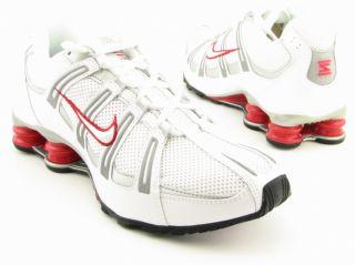 Nike Mens Shox Turbo Mesh White/Black/Silver Running Shoes (Size 8