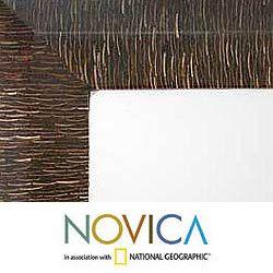 Handcrafed Coconu Shell Zebra Inrigue Wall Mirror (Indonesia