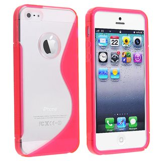 BasAcc Clear/ Hot Pink Silicone Case for Apple iPhone 5