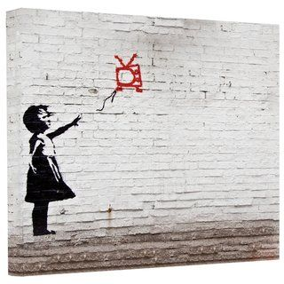 Banksy Balloon TV Girl Gallery Wrapped Canvas