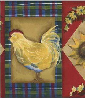 Red 418B222 Framed Chicken Wallpaper Border