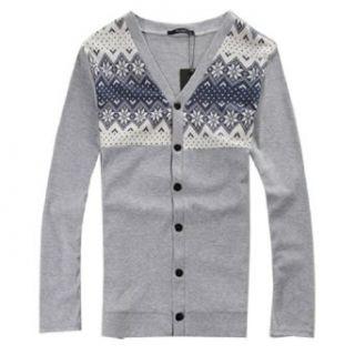 Allegra K Men Long Sleeve Nordic Print Cardigan Style Coat