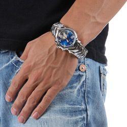 Oakley Mens Judge II Blue Dial Stainless Steel Watch
