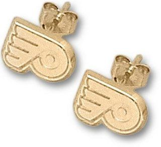 Philadelphia Flyers 1/4 P Post Earrings   14KT Gold