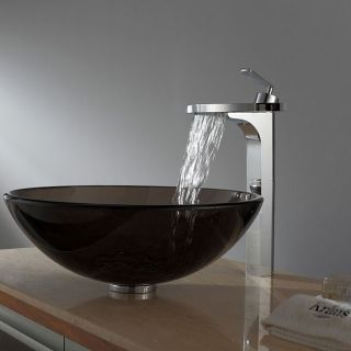 Kraus Clear Brown Glass Vessel Sink and Fantasia Faucet Chrome