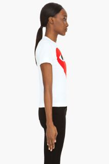 Comme Des Garçons Play  White Large Red Emblem T shirt for women