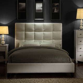 ETHAN HOME Sarajevo White Vinyl Column Queen size Platform Bed Today