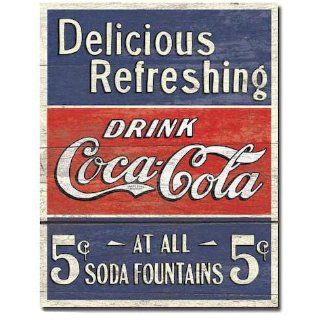 COKE   Delicious 5 Cents Metal Tin Sign , 12x16 Home