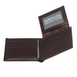 Kenneth Cole Reaction Mens Brown Leather Bi fold Wallet