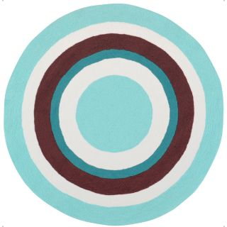 Hand hooked Blue Rizzo Polyester Rug (8 Round)