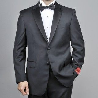 Mantoni Red Labeled Mens 2 button Black Wool Tuxedo