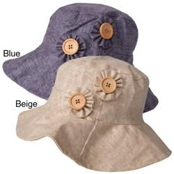Adi Designs Womens Flower Button Accent 3.5 inch Brim Cotton Hat