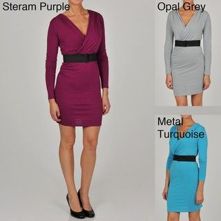 Gold Womens Belted Wrap Dress