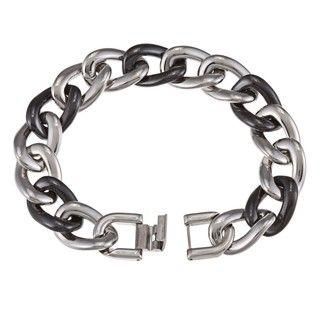 La Preciosa Stainless Steel Black Ceramic Gucci Link Bracelet