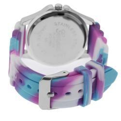 Geneva Platinum Womens Rhinestone Multi colored Silicone Watch