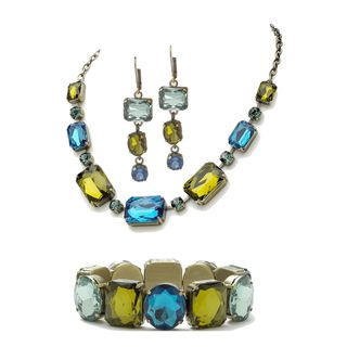 Lillith Star Gold Overlay Blue/ Green Faceted Lucite Antiqued Jewelry